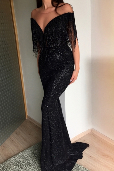 Womens Trendy Sexy Plunging V-Neck Tassel Hem Floor Length Black Bodycon Party Dress