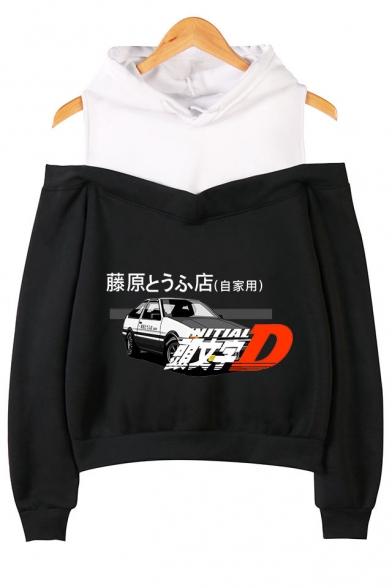 Car Letter Fujiwara Tofu Shop Graphic Print Cold Shoulder Casual Loose Pullover Hoodie