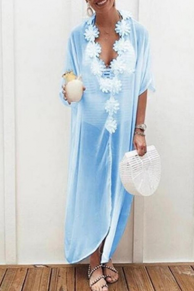 Chic Floral Embellished V-Neck Half Sleeve Solid Color Maxi Casual Loose Beach Kaftan Dress