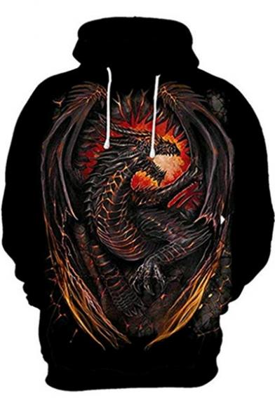 Cool Dragon 3D Print Long Sleeve Black Loose Fit Hoodie for Men