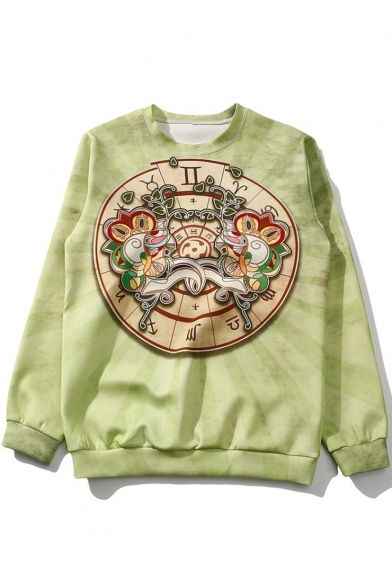 Cool Gemini Printed Basic Crewneck Long Sleeve Casual Loose Green Sweatshirt