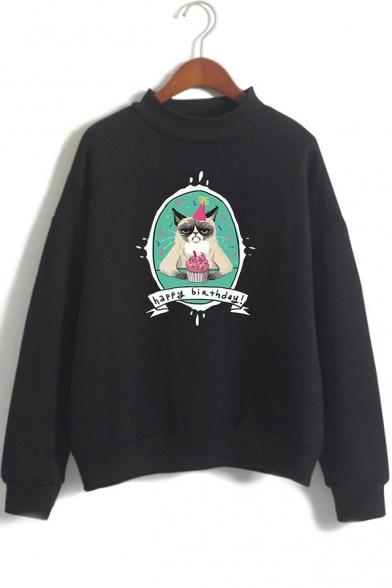 Cute Cartoon HAPPY BIRTHDAY Grumpy Cat Mock Neck Long Sleeve Pullover Sweatshirt