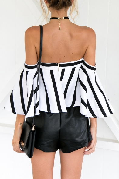 Fashion Black and White Striped Printed Off the Shoulder Blouse Top for Women