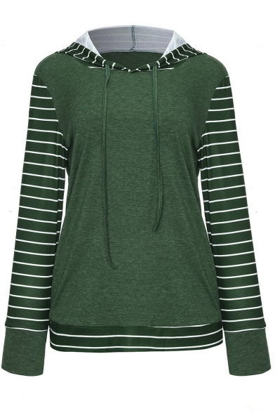 Fashion Women's Stripe Contrast Hem Drawstring Hood Long Sleeve Hoodie