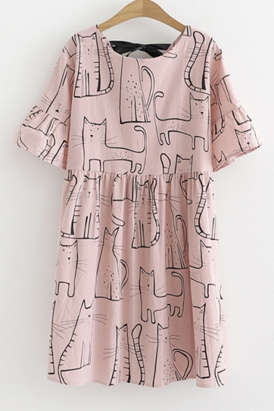 Girls Summer Cute Cartoon Cat Printed Round Neck Short Sleeve Mini Smock Dress
