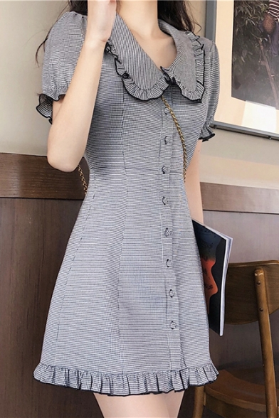 Girls Summer Cute Sweet Peter-Pan Collar Short Sleeve Ruffled Hem Mini A-Line Dress