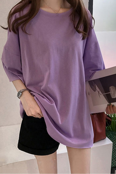 Girls Summer Fashion Candy Color Simple Plain Round Neck Oversized T-Shirt