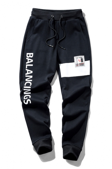 Guys Basic Simple Letter BALANCINGS Patched Drawstring Waist Cotton Loose Sweatpants