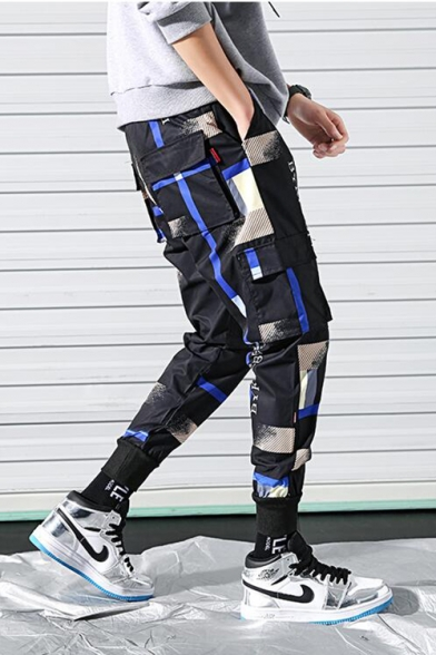 Guys Street Fashion Cool Colorblock Camo Patched Gathered Cuff Fitted Cargo Pants Trousers