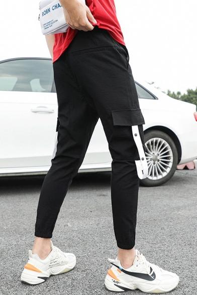 Guys Summer Cool Unique Colorblock Ribbon Drawstring Waist Slim Fit Cargo Pants