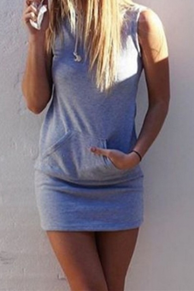 Hot Popular Sleeveless Simple Plain Mini Drawstring Hooded Grey Dress with Pocket
