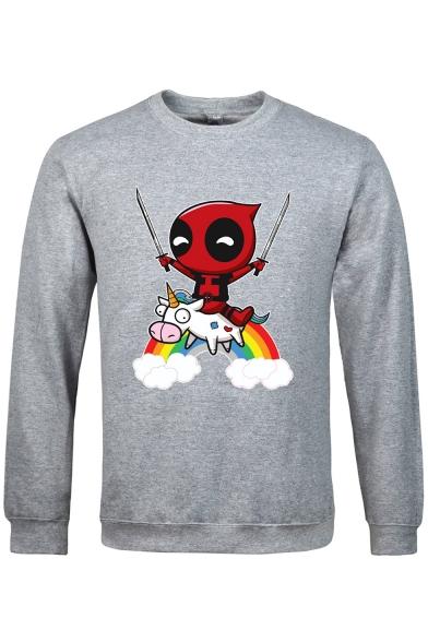 Men's Lovely Long Sleeve Round Neck Rainbow Unicorn Cartoon Print Sport Sweatshirt