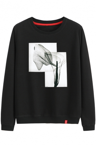 New Stylish Abstract Painting Printed Cotton Round Neck Long Sleeve Sweatshirt