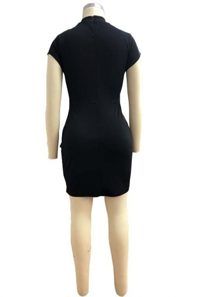 New Stylish Colorblock Stripe Stand Collar Frog Button Split Front Mini Bodycon Dress