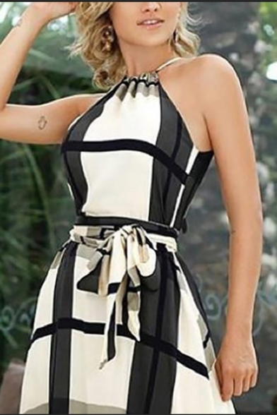 New Stylish Halter Neck Sleeveless Plaid Print Bow-Tide Waist Maxi A-Line White Dress