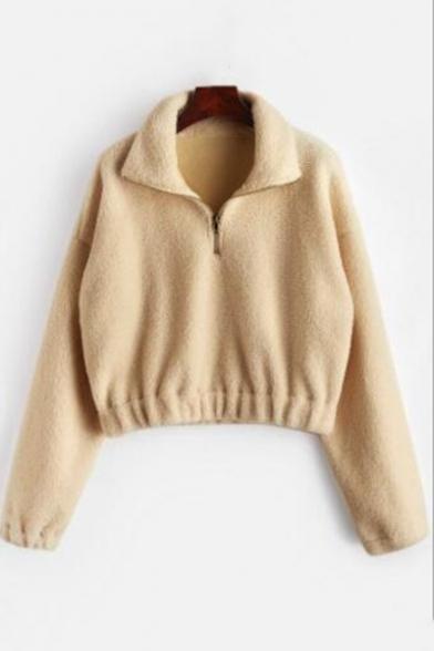Popular Khaki Solid Color Zipper Stand Collar Long Sleeve Cropped Fleece Sweatshirt