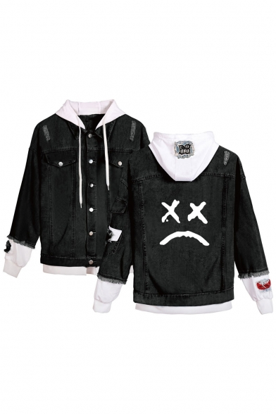 Popular Sad Face Printed Patched Hooded Long Sleeve Button Front Black Denim Jacket