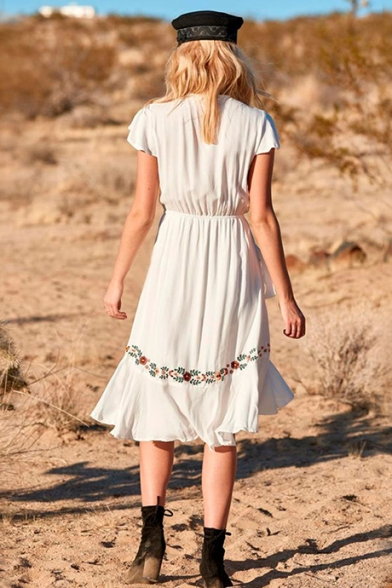 Summer Chic Floral Embroidery Sexy Plunged V-Neck Tied Waist Midi Cotton Ruffled Holiday Beach Dress