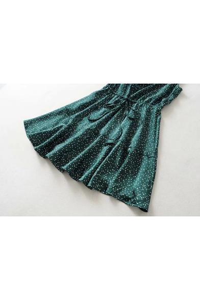Summer Chic Green Polka Dot Printed V-Neck Sleeveless Drawstring Waist Mini Cami Dress