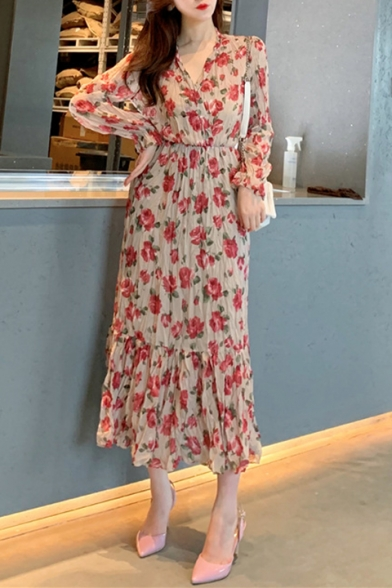 Summer Chic Red Floral Pattern V-Neck Long Sleeve Maxi Chiffon Pleated Ruffle Dress