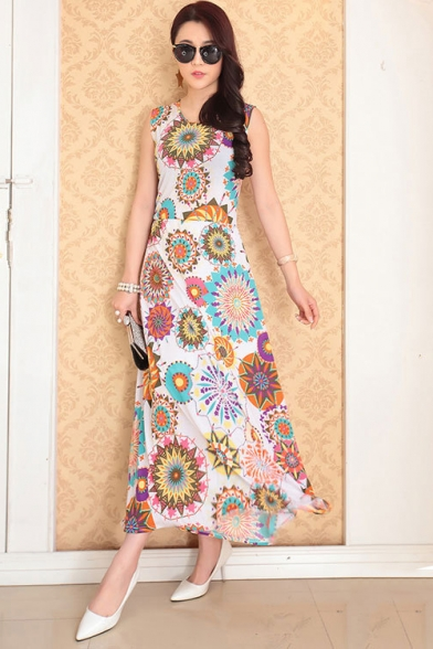 Summer Chic Stylish Floral Printed Round Neck Sleeveless Maxi Beach Bohemian Dress