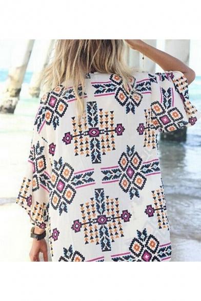 Summer Holiday Tribal Diamond Printed Sun Protection Beach Kimono Blouse Top