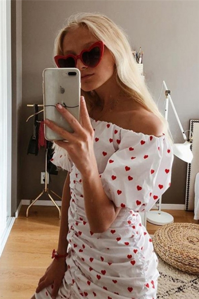 Summer Lovely Allover Heart Printed Sexy Off the Shoulder Puff Sleeve White Ruched Mini Bodycon Dress