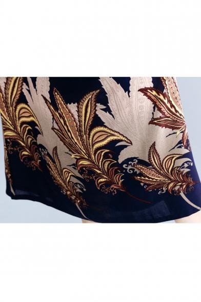 Summer Women's Trendy V-Neck Batwing Short Sleeve Floral Printed Loose Maxi Shift Navy Dress