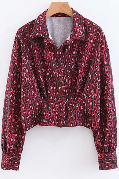 Trendy Red Snakeskin Printed Spread Collar Long Sleeve Cropped Shirt