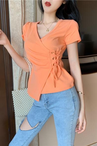 Unique Irregular Eyelet Lace-Up Side V-Neck Short Sleeve Slim Fit Cotton T-Shirt