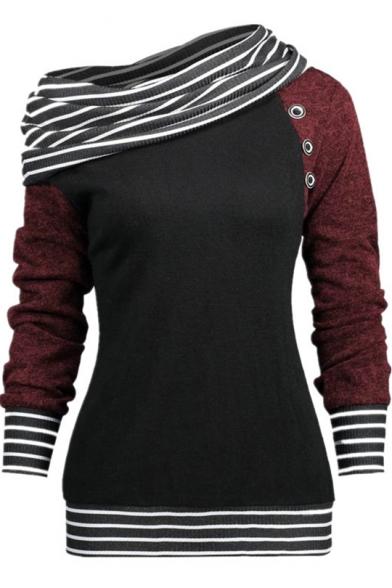 Unique Stripe Contrast Trim Skew Neck Raglan Long Sleeve Sweatshirt