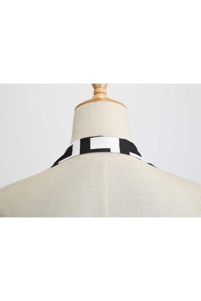 Women's Classic Fashion Geometric Printed Halter Sleeveless Midi A-Line Swing Black Dress