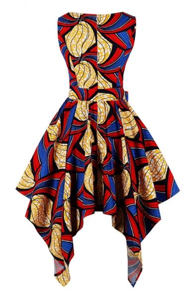 Women's Fashion Vintage Round Neck Sleeveless Bow-Tide Waist Tribal Print Midi Asymmetric Hem Red Dress