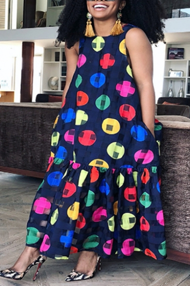 Women's Hot Fashion Round Neck Sleeveless Circle Printed Maxi Swing Navy Dress With Pockets