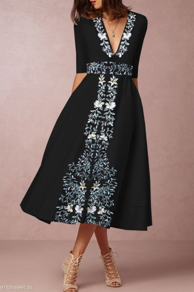 Women's Hot Fashion V-Neck Half Sleeve Floral Print Midi A-Line Black Dress