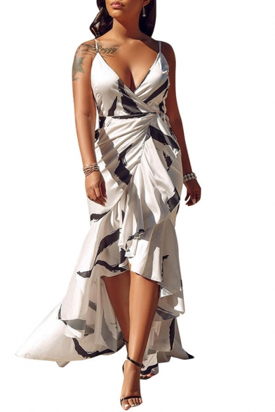 Women's Stylish V-Neck Sleeveless Ink Printed Asymmetric Ruffle Hem Maxi Wrap Dress