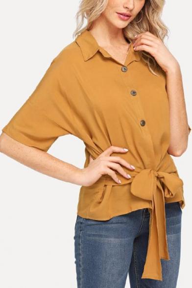 Women's Summer Fashion Plain Button Front Tied Waist Yellow Shirt Blouse