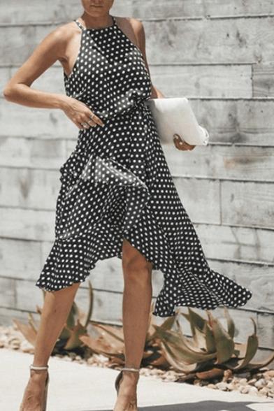 Women's Unique Polka Dot Sleeveless Round Neck Asymmetric Ruffle Hem Midi Slip Dress