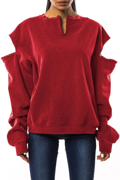 Womens Cool Solid Color Hollow Out Long Sleeve Casual Loose Burgundy Sweatshirt