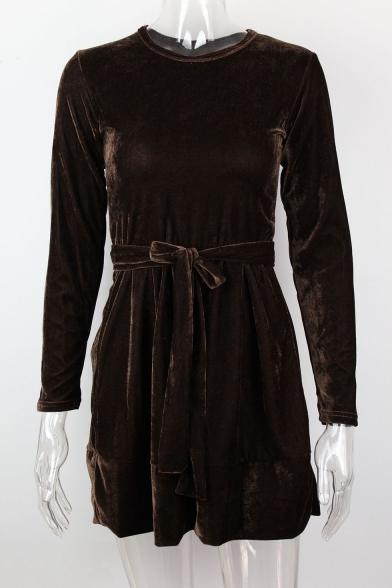 Womens Fashion Plain Basic Round Neck Three-Quarter Sleeve Tied Waist Mini A-Line Velvet Dress