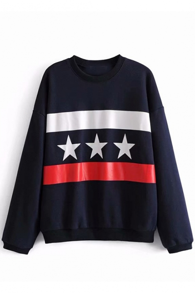 Womens Navy Star Colorblock Round Neck Long Sleeve Casual Loose Pullover Sweatshirt