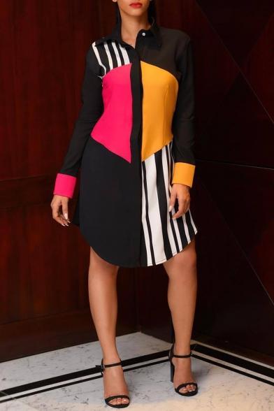 Womens Stylish Unique Stripe Colorblock Long Sleeve Button Down Mini Shirt Dress