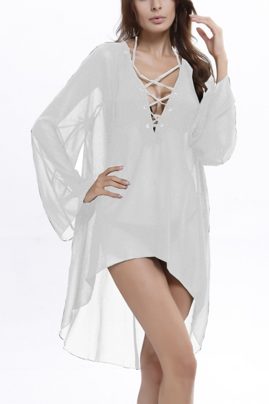 Womens Summer New Trendy Solid Color Lace-Up V Neck Long Sleeve High Low Hem Mini Swimwear Dress Beach Cover Up Dress