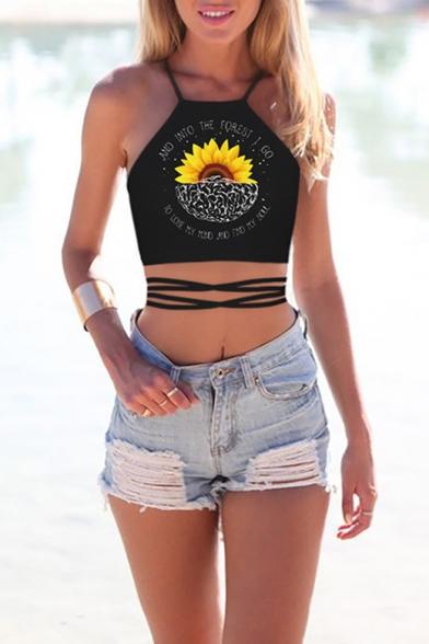 Womens Summer Popular Pattern Crisscross Hollow Out Cropped Tank Top