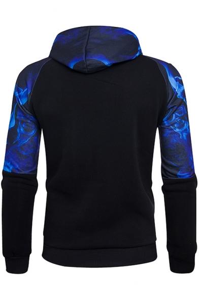 Black and Blue Colorblock Skull Printed Patched Long Sleeve Pocket Slim Fit Hoodie