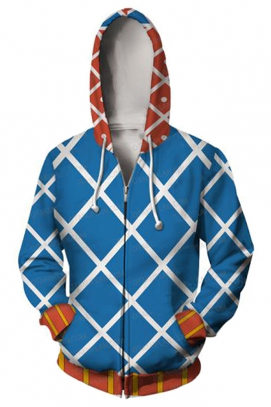 Blue Check Pattern Comic Cosplay Costume Long Sleeve Zip Up Casual Loose Hoodie