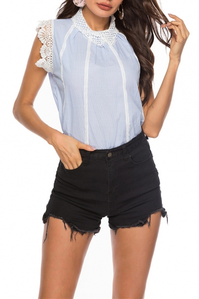 Chic Lace-Panel Stand Collar Blue Striped Printed Casual Blouse Top for Women