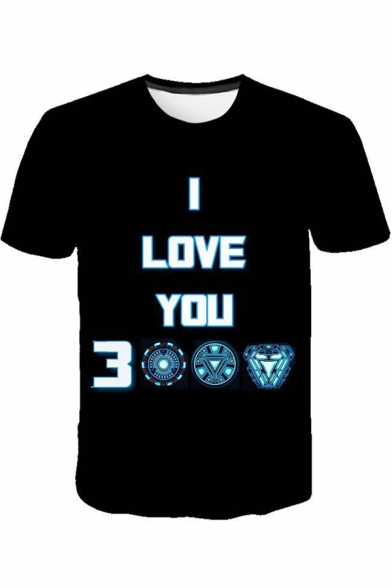 Cool Unique Iron Letter I LOVE YOU 3000 Print Black Short Sleeve Tee