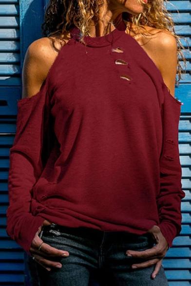 Fashion Cutout Cold Shoulder Long Sleeve Simple Plain Casual Tee