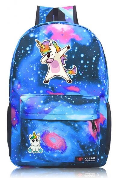 Fashion Galaxy Unicorn Print Oxford Cloth Backpack 45*31*13 CM
